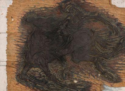 Vincent GONZALEZ (1928-2019)  Cavalier de l'apocalypse,  Plaque en bois sculpté,...