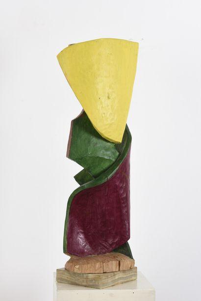 Vincent GONZALEZ (1928-2019)  Fleur en chêne sculpté,  H: 60 cm
