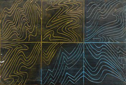 Vincent GONZALEZ (1928-2019)  Panneau gravé d'ondes, divisé en 6 compartiments,...