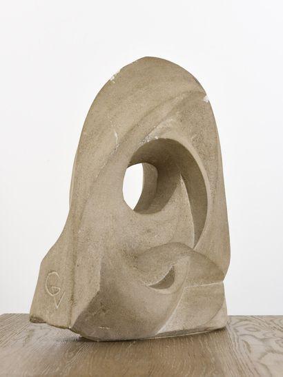 Vincent GONZALEZ (1928-2019)  Composition abstraite,  Pierre calcaire,  Monogrammée...