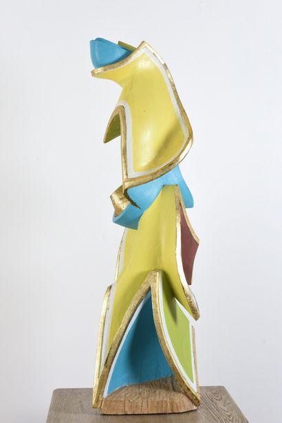 Vincent GONZALEZ (1928-2019)  Composition abstraite en chêne polychrome et doré,...