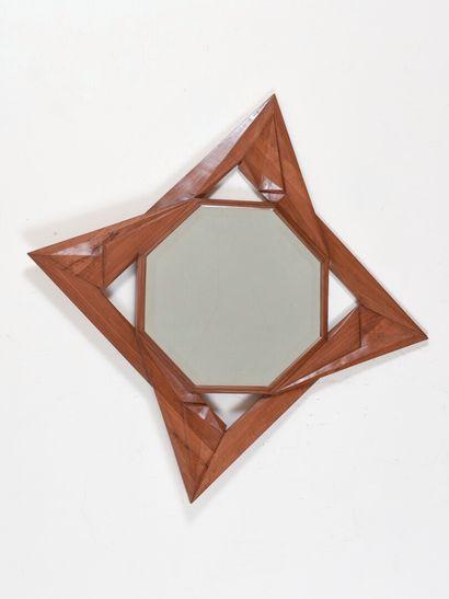 Vincent GONZALEZ (1928-2019)  Miroir en bois...