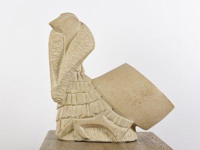 Vincent GONZALEZ (1928-2019)  American turkey,  Sujet en pierre de Bourgogne,  H:...