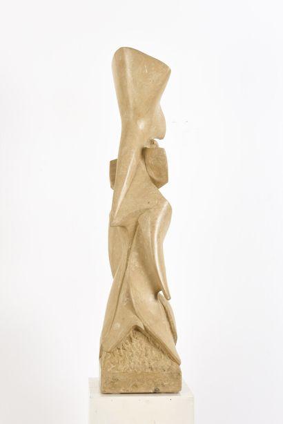 Vincent GONZALEZ (1928-2019)  Iris stylisé,  Sujet en pierre de Bourgogne,  80 x...