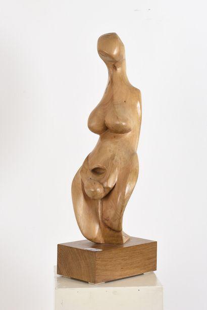 Vincent GONZALEZ (1928-2019)  Naissance,  Hêtre sculpté  H: 49 cm