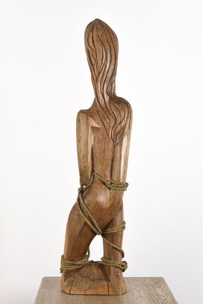 Vincent GONZALEZ (1928-2019)  Sainte Agathe,  Chêne sculpté et cordage,  Titrée...