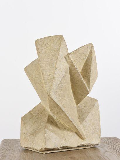 Vincent GONZALEZ (1928-2019)  Composition abstraite,  Pierre calcaire,  44 x 30...