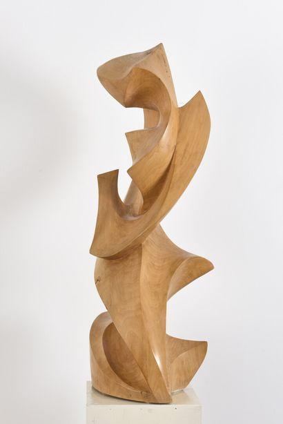 Vincent GONZALEZ (1928-2019)  Composition abstraite,  Hêtre sculpté,  H: 75 cm;...