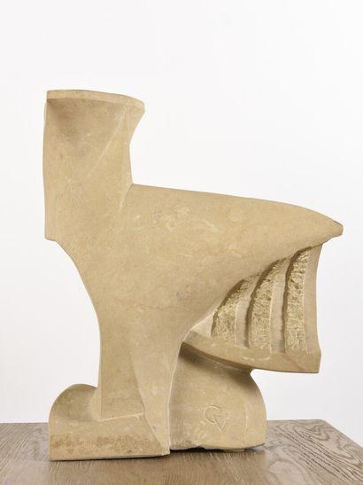 Vincent GONZALEZ (1928-2019)  Coq de Bruyère,  Pierre de Bourgogne,  H: 50 cm;...