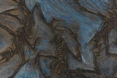 Vincent GONZALEZ (1928-2019)  Danse macabre,  Plaque en bois sculpté,  27,5 x 39...