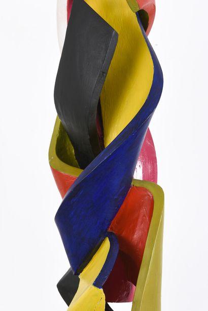 Vincent GONZALEZ (1928-2019)  Sujet en chêne sculpté polychrome,  95 x 18 cm  (restauration...