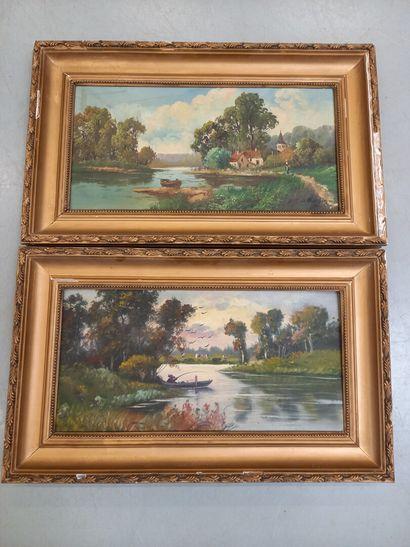 J. CHARDIN  Paysage avec rivière  Paire d'huiles...