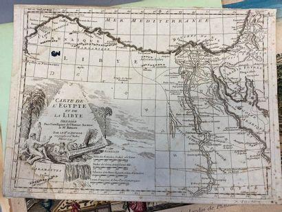 Vue d'optique 18ème, cartes géographiques...