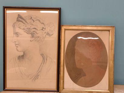 2 dessins  Femme de profil  49 x 31 cm