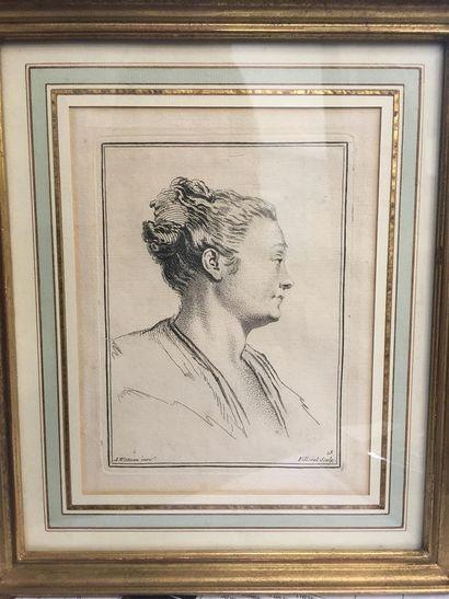D'après Antoine WATTEAU  Portrait de femme...