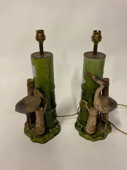 Paire de lampes à l'imitation du bambou à...