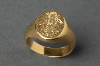 Chevalière en or jaune monogrammée PF  Pds...