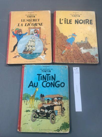 Hergé. Un ensemble de 3 volumes de Tintin,...