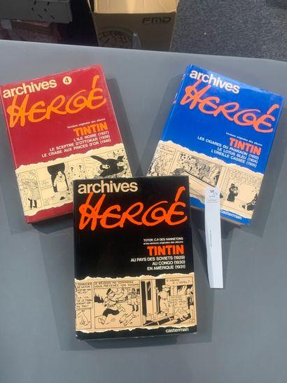 3 tomes Archives Hergé. Les n° 1, 3 et 4...