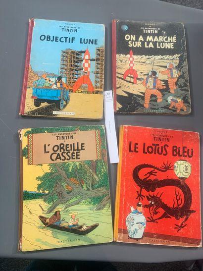 Hergé. Un ensemble de 4 volumes de Tintin,...