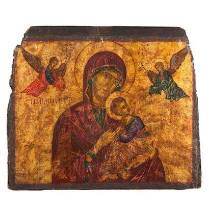 Vierge à l'Enfant, icône sur bois 18ème siècle