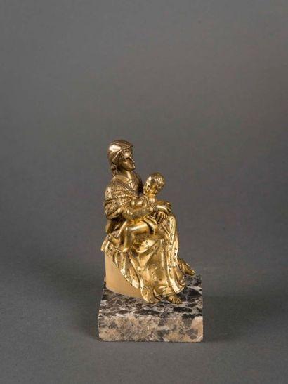 Vierge à l'Enfant en bronze doré 18ème siècle...
