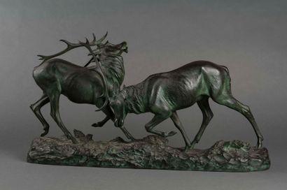 RICHE le combat de cerfs Epreuve en bronze...