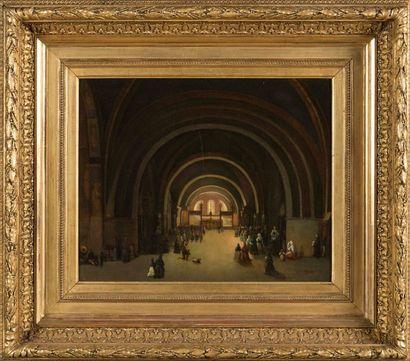 École française du 19ème Vue d'intérieur d'église Huile sur toile, signée Granet...