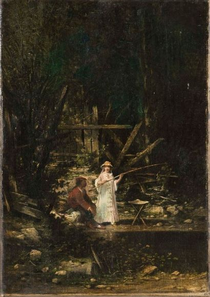 Léon LEGAT (1829-) Partie de pêche huile sur toile 45 x 31 cm