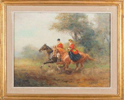 Eugène PECHAUBES (1890- 1967) Couple de chasseurs à courre huile sur toile Signée...