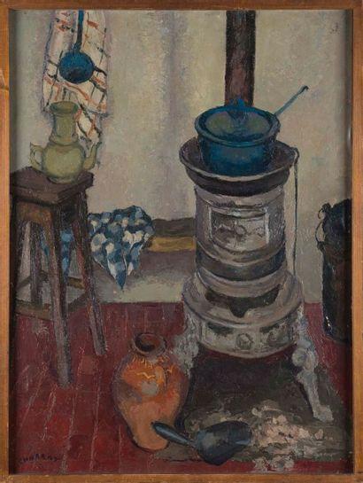 Louis CHARRAT (1903-1971) Le poêle dans l'atelier du peintre Huile sur toile Signée...