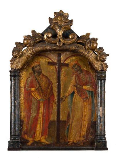 Christ en majesté avec un saint martyr encadrant...