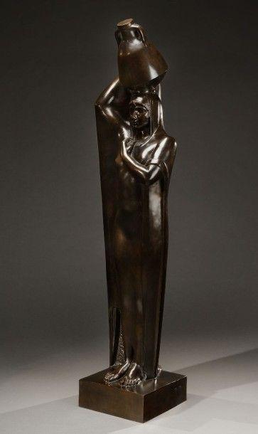 Mahmoud MOUKTAR ou MOKHTAR (Egypte, 1891-1934) Au bord du Nil Importante épreuve...