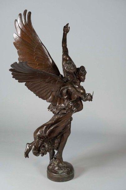 Antonin MERCIER (1844-1916) Gloria Victis importante épreuve en bronze à patine médaille...