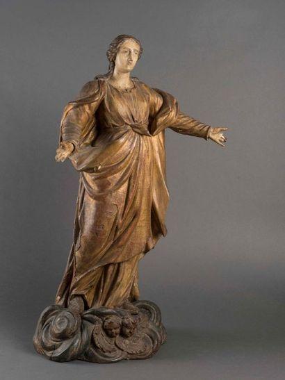 Vierge debout les bras ouverts Sujet en bois...