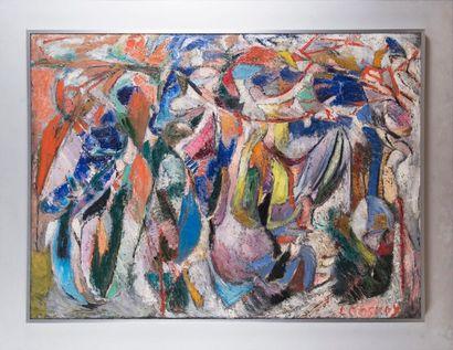 André LANSKOY (1902-1976) Sans titre Composition abstraite Huile sur toile signée...