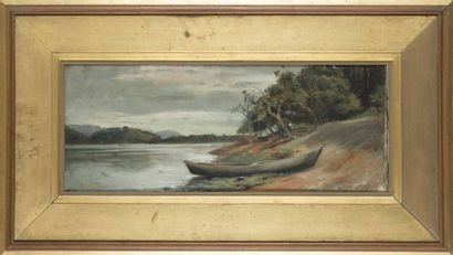 Ferdinand CHEVALIER (XIX-XXeme) Bord de fleuve...
