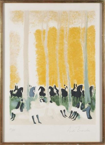 André BRASILIER (1929) Cavaliers se reposant...