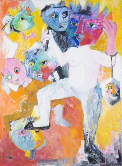 Simone ODDOU (1911-2003) La danse des masquesHuile...
