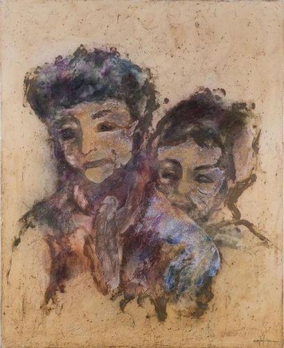 CORTEDUNE Portrait de deux femmes Huile sur...