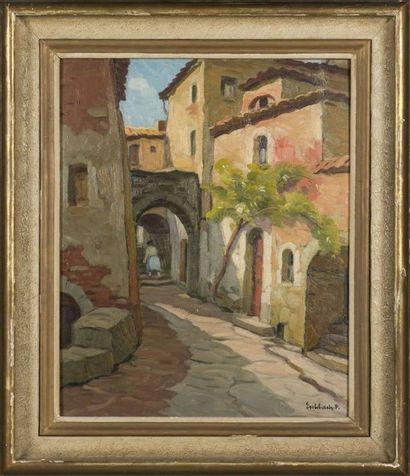 Paul ESCHBACH (1881-1961) Vue d'un village...