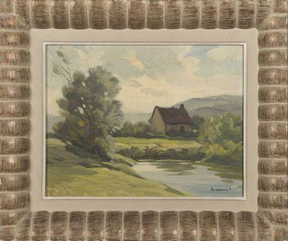 Paul ESCHBACH (1881-1961) Huile sur panneau...