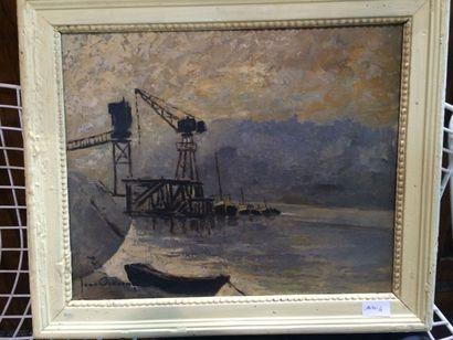 Jean VINCENT (1907-1978) Bord de Saône Huile...
