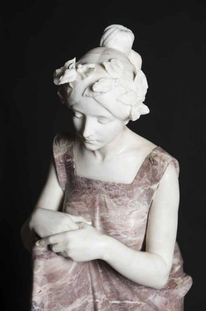 Raffaello ROMANELLI (Florence 1858- 1926) Sappho au rocher de Leucade Sculpture...