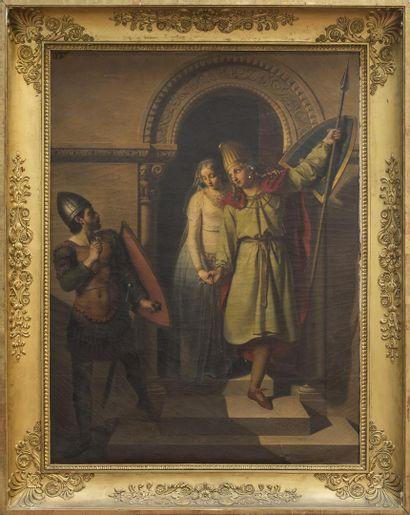 Charles MOENSCH (1784 - 1867) Childéric et Basine Huile sur toile Signée : C MOENSCH...