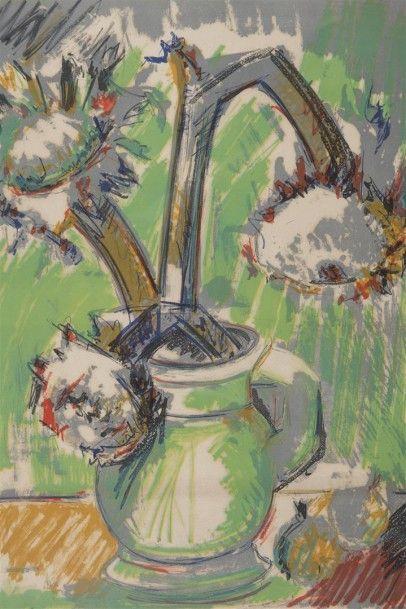 Bernard LORJOU (1908-1986) Tournesols lithographie...
