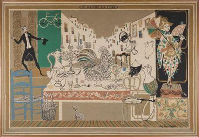 Jean Denis MALCLÈS (1912-2002) «Le marché...