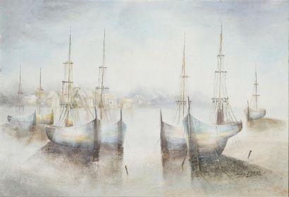 ZELLER Bord de mer Huile sur toile, signée...
