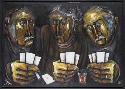 Juan COOK Les joueurs de cartes Huile sur...