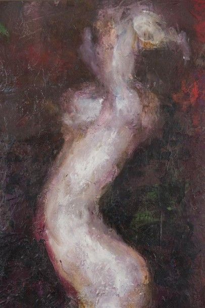 HIRI Guy-Max (né en 1928) Femme nue Huile...